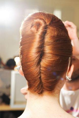 """Прически в стиле 50 х годов на длинные волосы, прическа """"двойная французская ракушка"""""""