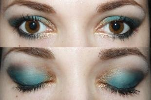 Арабский макияж для карих глаз, макияж под голубое платье