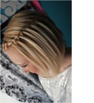 Прически водопад на средние волосы, прическа каре с плетением