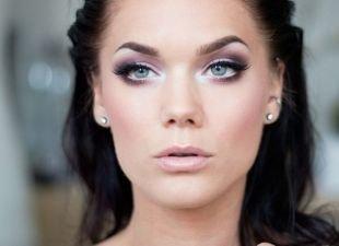 Свадебный макияж с нарощенными ресницами, макияж для голубоглазых брюнеток