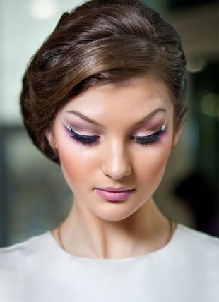 Свадебный макияж в персиковых тонах, свадебный макияж бабетта