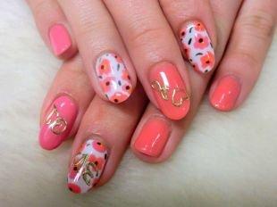 Красные ногти с рисунком, маникюр в розовых тонах по фен-шуй с цветами