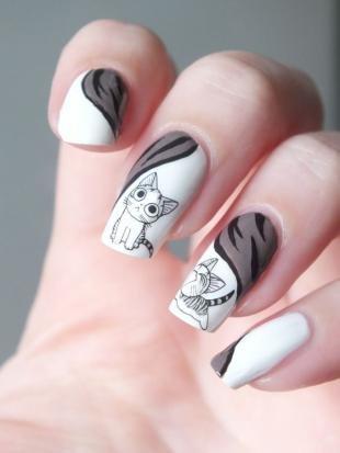 Рисунки с кошками на ногтях, оригинальный маникюр с кошками