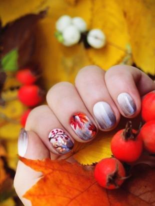 "Рисунки с листьями на ногтях, осенний маникюр в технике ""омбре"""