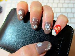 Нарощенные ногти, новогодняя роспись ногтей