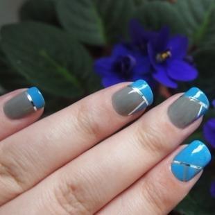 Голубой френч, дизайн френча с помощью фольги