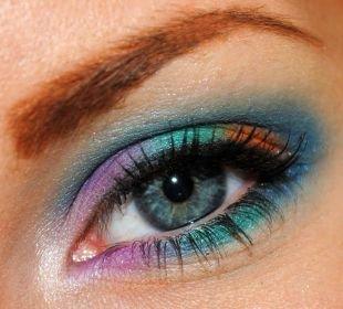 Восточный макияж для голубых глаз, разноцветный летний макияж для серых глаз