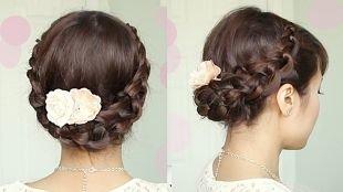 Светло каштановый цвет волос на длинные волосы, великолепная корзинка из хвоста
