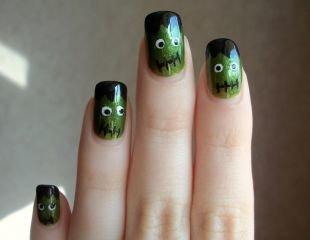Дизайн ногтей с блестками, маникюр франкенштейн