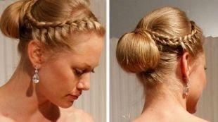 Прическа пучок, прически на средние волосы - коса