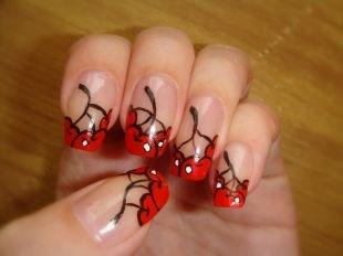Простейшие рисунки на ногтях, красный френч с вишенками
