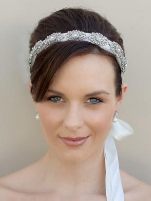 Прическа с повязкой на длинные волосы, свадебные аксессуары для волос