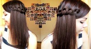 """Темно шоколадный цвет волос на длинные волосы, прическа с плетением """"французский водопад"""""""