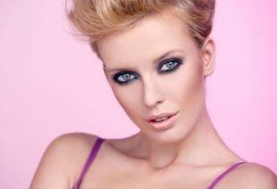 Клубный макияж, летний дымчатый макияж для голубых глаз