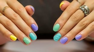 Летний маникюр на коротких ногтях, модный разноцветный маникюр на короткие ногти