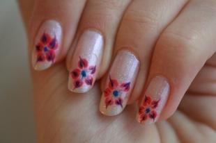 Рисунки на ногтях иголкой, цветочки на ногтях с помощью иголки