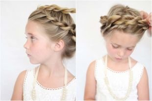 Прически с плетением на выпускной на длинные волосы, детская прическа с косой