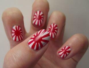Простой дизайн ногтей, маникюр с армейским японским флагом