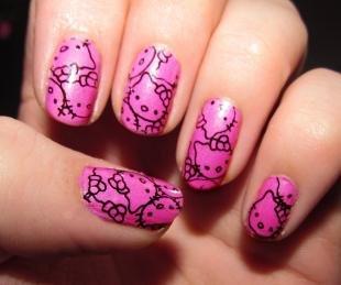 Рисунки с кошками на ногтях, детский маникюр с рисунками hello kitty