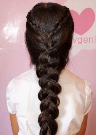 """Цвет волос темный шоколад на длинные волосы, простая прическа """"коса вовнутрь"""""""
