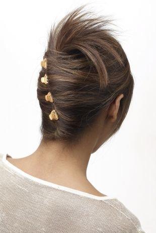 """Холодно коричневый цвет волос, повседневная прическа на средние волосы """"французский твист"""""""